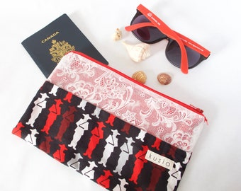 Canada Bag.Canada Gift.Canada Souvenir.Lace Vinyl Zipper Pouch.Canada Lover.Canada Day Accessory.Canada Moose.Mounties Canadian Red & White.