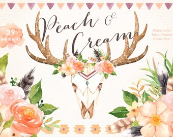 Peach & Cream Tribal Watercolor clipart, Boho Clipart, Flowers Wreath Bouquets, Wedding invitation, DIY elements, greeting card,Horn,Feather