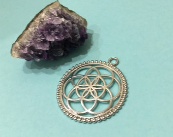 SEED of LIFE Silver Plated 45x40mm Pendant-Charm
