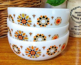 Original Vintage 60s/70s JAJ Pyrex Bowls Set Of 3 Bowls Orange TOLEDO Mixing Serving
