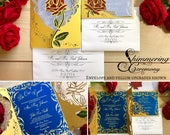 Beauty and the beast inspired invitation laser cut wedding invitation and RSVP set princess ball be our guest