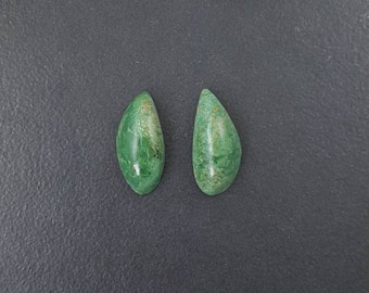 Verdite Cabochon Pair, 22mm x10mm, earring pair, green white yellow, matched pair, earring cabochons, earring stones, mgsupply, green cabs