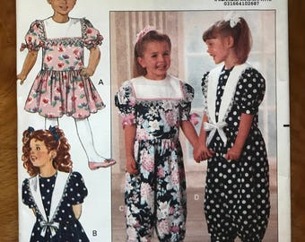 Butterick 5398 - Girl's Victorian Edwardian Sailor Styled Jumpsuit and Dress - Size 5 6 6X