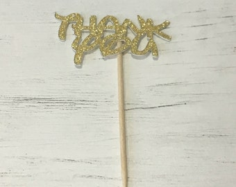 12x 'Thank You' Cupcake Toppers Decoration, Birthday, Party, Teacher Gifts.
