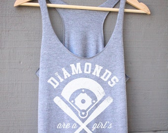 Diamonds Are A Girls Best Friend Tank Top - Baseball Shirt for Women - Baseball Womens Tank Top - Baseball Gift