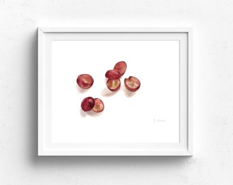 sliced grapes watercolor art print - Kitchen Wall Art - grape Illustration - grape fruit print - grape illustration - Fruit Illustration