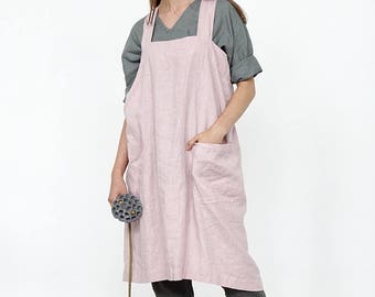 Linen Pinafore apron, Square Cross Linen Apron, Linen tunic apron, Work dress, Japanese Apron, Washed long apron with deep pockets, Linen