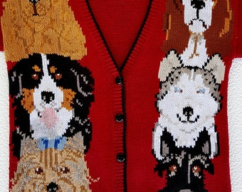 SPECTACULAR Original handmade VTG Cardigan 90 Years with dogs sz M/L