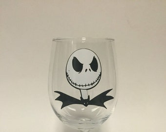 Jack Skellington stemless wine glass or Tumbler with straw inspired by Nightmare before Christmas