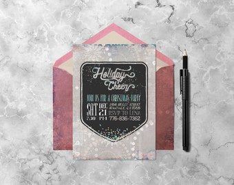 Christmas Invitation Holiday Cheer   Printable Invitations Online, Holiday Invitation, Digital Print, Holiday Party, Invitation Card