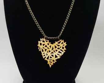 Geometric Wooden Heart Necklace / Laser Engraved Wood With Bronze Chain And Lobster Clasp