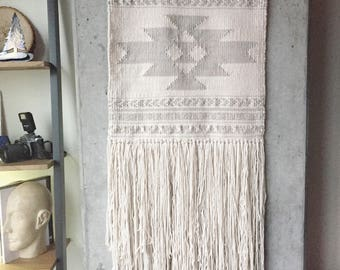 Custom - Large Geometric Cream Woven Wall Hanging, Large Weaving, Statement Art, Yarn Wall Hanging, Tapestry, Woven Wall Art, Weaving