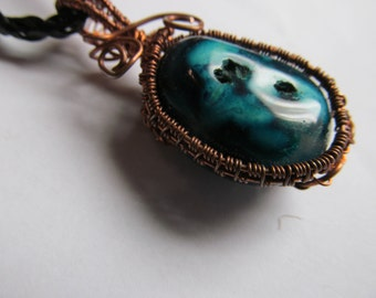 Wire Wrapped Blue Agate Pendant