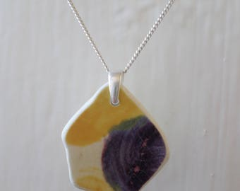 Beach Pottery and Sea Glass Sterling Silver Necklace, Seaglass, Beach Glass, Beach Jewelry, Pottery Shard, Pendant, Northumberland, Ceramic