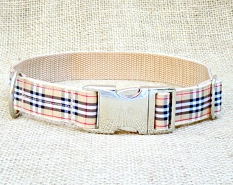 "Tan Plaid Dog Collar~ 3/4"", 1"" or 1.5"" Wide with Metal Side Release Buckle"