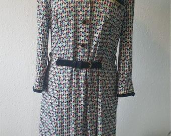 1970s Jersey Supreme Glaser dress•vintage dress•1970s fashion•multicoloured dress•cotton dress•long dress•summer•UK 14/16•12/14