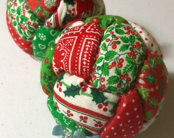 Vintage Set of Two (2) Quilted Christmas Ball Ornaments