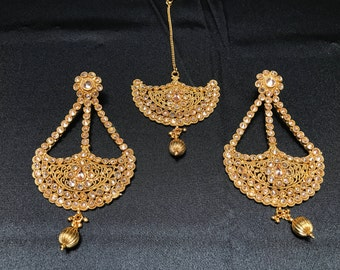 Indian Jewelry - Kundan Earrings Tikka Set - Earrings and Tikka Set - Polki Earrings Tikka - Pakistani Jewelry - Bollywood Earrings Tikka -
