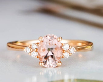 Morganite Engagement Ring Rose Gold Diamond Cluster Ring Oval Cut Promise Bridal Ring Thin Wedding Ring Women Anniversary Gift for Her