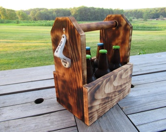 Wooden Rustic Burned Pine Beer Caddy/ Caddie/ Holder/ Tote/ Carrier, Father's Day Gift, Birthday, Groomsmen, Wedding, Party, Drink