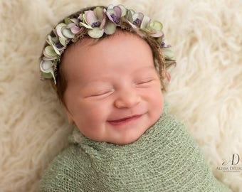 Sage and lavender newborn floral tieback