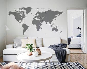 Gray World Map Wall Decal Home Office Wall Sticker Kids Decor