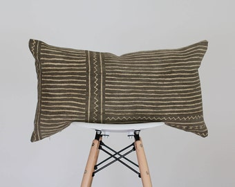 14 x 25 Olive and Cream Geometric and Stripe Design Authentic African Mud Cloth Lumbar Pillow Cover