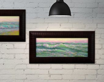 Original oil painting sea 7X15 framed seascape ready to hang artwork wave ocean painting home Living Room Wall Decor realistic art