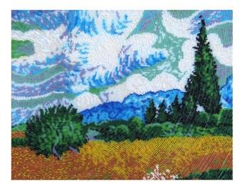 Wheat Field with Cypresses Kit// Wheat Field with Cypresses Embroidery// Van Gogh Embroidery Kit// Beaded Van Gogh Painting// Van Gogh Kit
