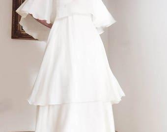 Cream vintage tiered bridesmaid / summer / wedding guest dress.