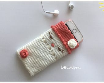 Cover Iphone Samsung Smartphone - Crochet acrylic Off White and Coral Colour detective party or birthday - for - Hand Made - Smartphone case