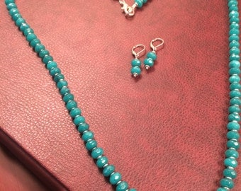 Elegant Teal Blue Opal Necklace and Earrings Set (29 inches)