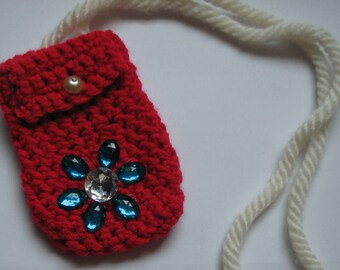 Handmade Red Crochet Small Shoulder Bag with Long Straps and Jewels
