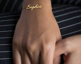 Custom Name Bracelet - Personalized Name Bracelet - Name Bracelet - Valentine's gift - Gold Jewelry - Gold Name Bracelet - Name Plate Bracel
