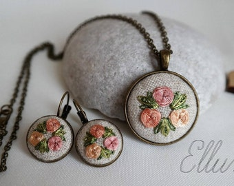 Embroidered earring necklace Floral Embroidery jewelry set Grandmother necklace Eco pendant Wife white jewelry Ukrainian Unusual present