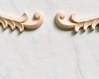 Wood corners appliques, Acanthus leaf corners, furniture appliques, wood onlay, furniture decoration, wood embellishment, 1 pair