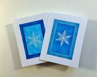 Snowflake blank cards (set of 2): embossed snowflake on hand-painted papers, individually handmade; holiday cards, SKU BLA21056