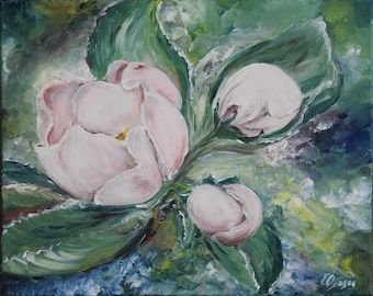"""Acrylic on canvas. """"Apple blossom"""" Handicraft, Ready for hanging on the wall. wall design. Art"""