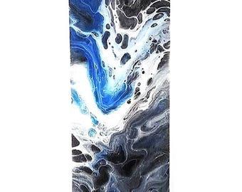 "Original Abstract Acrylic Art Fluid Painting - 4"" x 12"" Canvas Paper Sheet -Blue, Black, Metallic Silver"