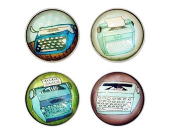 glass magnets - typewriter decor, useful gifts for employees, typewriter magnet, dorm room decor, back to school magnets, retro dorm decor