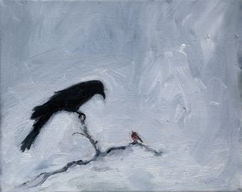 Crow and robin in winter original oil painting by Nancy van den Boom 24 x 30 cm / 11,8 x 15,5 inches