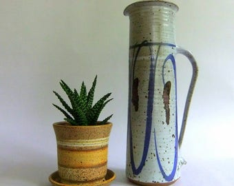 Vintage, Tall Stoneware, Studio Pottery Pitcher - Grey Blue Brown, Handpainted, Wheel Thrown, Rustic Modern, Vase, Speckled, Collectible