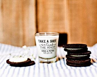 Take a Shot, Shot Glass, Wedding Favors, We Tied the Knot, Personalized Shot Glasses, Wedding Shot Glasses, Custom Shot Glasses, 1446