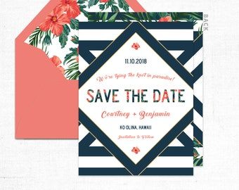 Save the Date Card & Envelope {Tropical Romance}