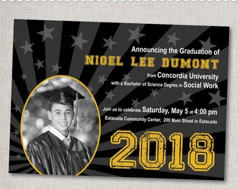 Graduation Photo Invitation Announcement in Custom Colors - Printable Digital File or Printed Invitations with Envelopes - FREE SHIPPING