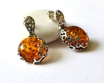 Baltic Amber Stud Earring, Amber Silver Earrings, Amber Earring, Amber Jewelry, Gift Jewelry, Natural Amber Gift, Dangle Earrings