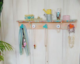 Jewelry Shelf/Small Shelf/Jewelry Organizer/Funky/Whimsical Knobs/Distressed Painted Shelf/Hearts/Turquoise/Aqua/Orange/lindafrenchgallery