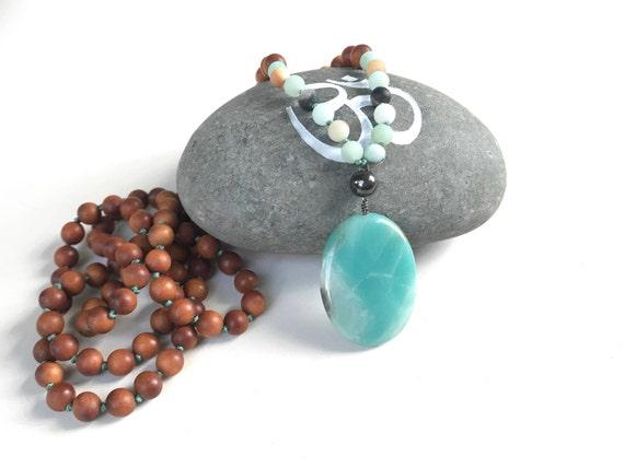 Amazonite Sandalwood Mala Beads, Mala Beads Sandalwood, Mala Beads 108, Turquoise Mala Beads, Hand Knotted Mala Beads, Yoga Jewelry