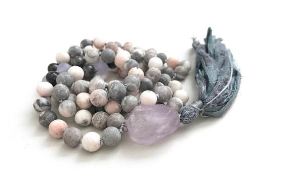 Knotted Jasper Mala Beads, Pink Zebra Jasper Mala Necklace, 108 Beads Mala With Labradorite, Amethyst And Jade, Hand Knotted Tassel Mala