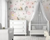 Amara Floral Mural • Easy to Apply Removable Peel 'n Stick Wallpaper in Custom Colors!